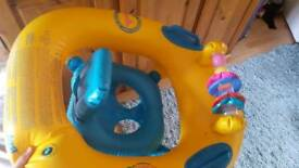 Baby swim ring float with toy bar