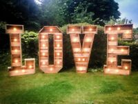 Giant rustic LOVE letter lights for hire