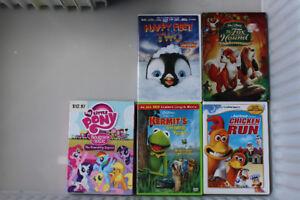 5 Kids DVDs, Happy Feet 2 , Chicken RUn, My Little Pony Etc