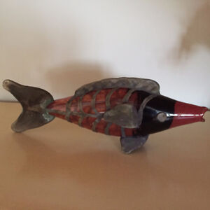 Nautical Orange Blown Glass Fish