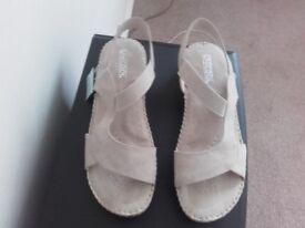 BEIGE NUBUCK SANDALS SIZE 6.5 (40) BRAND NEW WITH TAG