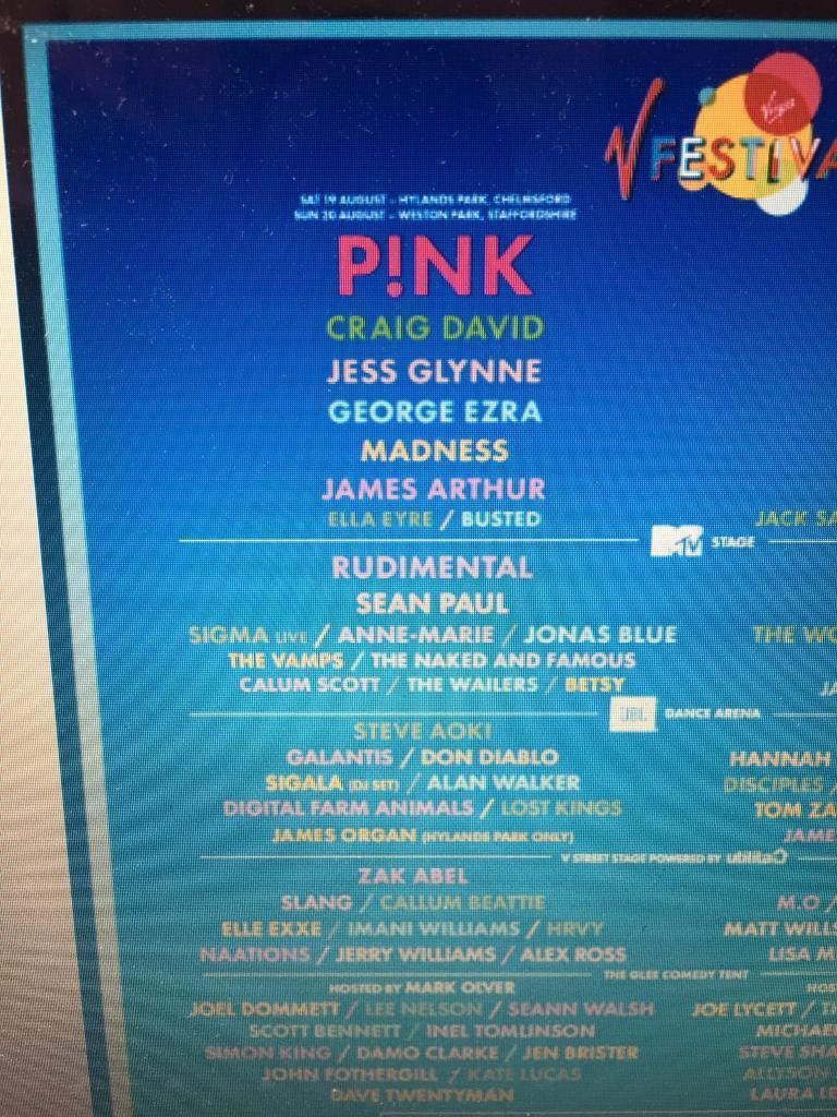V festival Saturday tickets Pinkin Watford, HertfordshireGumtree - V fest tickets for Saturday Pink, Craig David, rudimental, Sean Paul and loads more .Can no longer go . Face value only no silly extreme charging