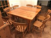 Stunning 4 FT square antique pine dining table (thick top) with 8 SOLID OAK farmhouse chairs!