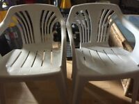 2 White Plastic Garden Chairs