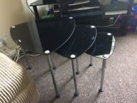 Dark Glass Small Coffee Table Set - Excellent Condition