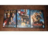 IRON MAN 3 MOVIE COLLECTION, MARVEL UNIVERSE, DVD'S