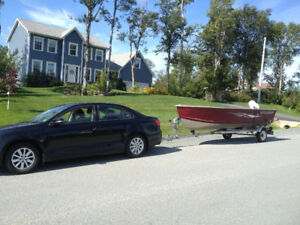 14ft Aluminum Boat, Boat Trailer and 25HP Johnson outboard.