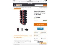 Bodymax Pro II Rubber Dumbells / Stand / Bench