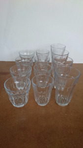NEW Set of 12 Thick Glass Cups Classic Style