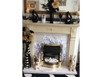 Fire & Surround Solid Marble Hearth & Back Plate
