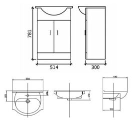 High Gloss White Bathroom Vanity Furniture Cabinet Unit