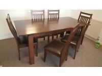 Extension dining table and 6 chairs