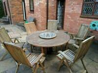 RoyalCraft solid wood 150cm round table and 6 chairs garden furniture set