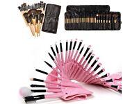 Pink 32 Pcs Kabuki Make Up Brush Set and Cosmetic Brushes Case-Pink