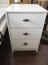 2x White Bed side tables