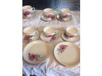 Barretts Delphatic Vintage china cups, saucers and side plates