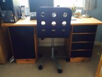 Blue and Pine IKEA Desk & Blue Swivel Office Chair