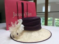 Jacques Vert hat - cream brim with dark berry top, and decoration to suit