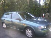 NISSAN ALMERA 1-5 S 16 VALVE 5-DOOR 2003. 72,000 MILES, 12 MONTHS MOT WITH NO ADVISORIES, ANY TRIAL.