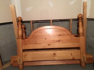 Queen Size Hand made Pine four post bed