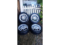 "Porsche OEM Staggered Cayman wheels with tyres mint condition 17"" fits 986 boxster/cayman etc."