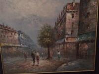 """Oil on canvass. 2 seascapes and 2 street scenes... all very different on 24"""" by 20"""" canvasses"""