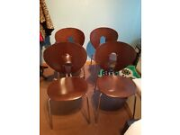 Varnished wood 4 chair set for sale - £25