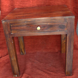 SOLID MANGO HARDWOOD SIDE TABLE, LAMP TABLE, BEDSIDE TABLE
