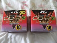 2 BOXES OF JVC RECORDABLE CDS WITH CASES BRAND NEW