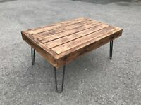Small garden coffee table. Rustic Industrial hairpin legs