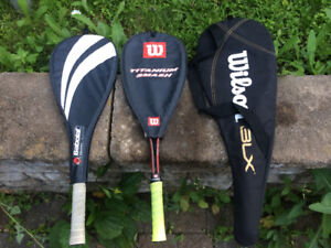 three Squash racquets for sale