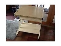 Computer trolley desk On wheels 3 shelves - 1 pull out Cream colour Good condition Madeley, Telford