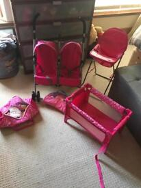 Toy doll pram high chair and cot