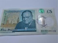 Rare - AA19 - NEW Polymer Five Pound Note