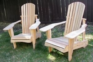 Handcrafted unstained Cedar Adirondack chairs