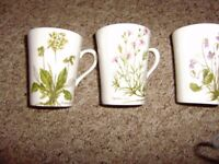 Cups and saucers, 3 floral design mugs by Royal Kendal and NEW cup with a saucer and a side plate