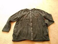 Womens Cardigan Jumper Buttoned Rich Thick Wool M/L Brand New Luxury Black