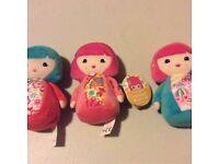 3 x kimmidoll junior soft toys, doll