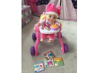 Vtech Baby Amaze Learn to Talk & Read Baby Doll With Vtech Little Love 3 in 1 Pushchair