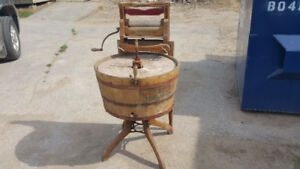 Antique wooden washing machine with wringer from 1907