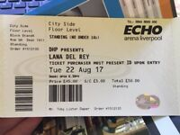 2 Standing Tickets For Lana Del Rey, 22/08/2017 - The Echo Arena, Liverpool