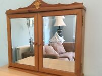 Attractive Antique Pine Bathroom Cabinet with Bevelled Mirror + Wall Fixings