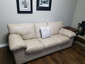 Beautiful light tanned  love seat and sofa