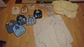 Baby Bundle/ 3 Baby Hooded Towels / 2 fitted cot bed sheets/ 11 bibs
