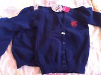Clifton Hall School Uniform- 2 Junior Girls Cardigan- chest 30 fits age 7-9