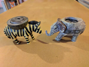 Animal Figures and Candle Holders