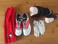 Golf lot - shoes, towel, gloves, head covers