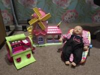 Happyland ELC Windmill Carriage Doll Baby Carrier