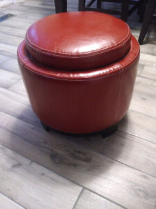 Red Storage/tray Ottoman - Like Brand New (Regular around $90)