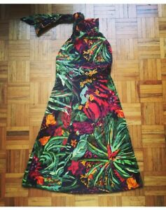 Vintage Tropical Halter Dress - M/L